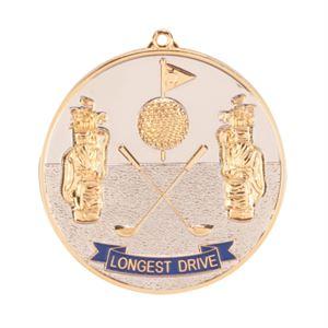 Prestige Longest Drive Golf Medal (size: 70mm) - Gold MM85G