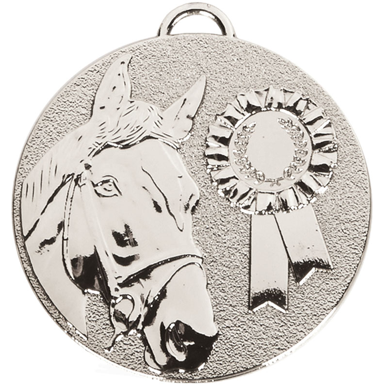 Silver Target Horse Rosette Medal (size: 50mm) - AM1047.02