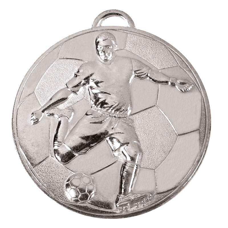 Silver Helix Footballer Medal (size: 60mm) - AM931S
