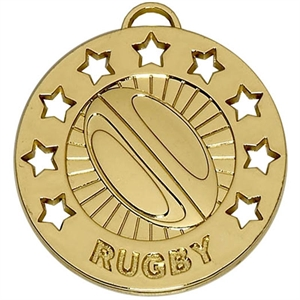 Gold Spectrum Rugby Medal (size: 40mm) - AM864G