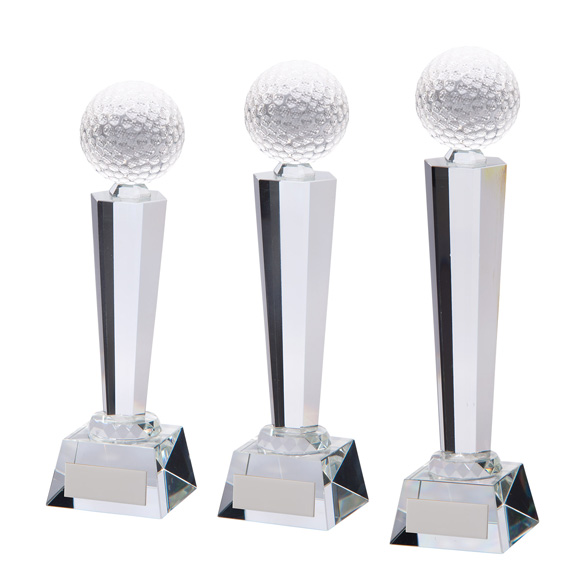 Interceptor Golf Optical Crystal Award 3 sizes - CR17116