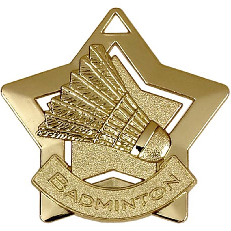 Gold Mini Star Badminton Medal (size: 60mm) - AM720G