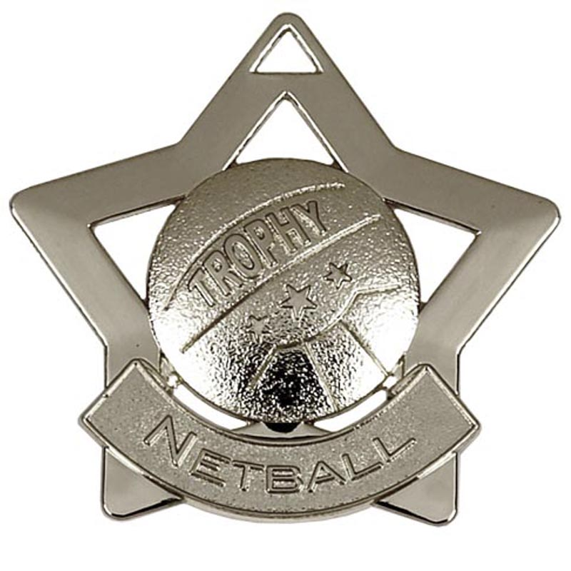 Silver Mini Star Netball (size: 60mm) - AM722S