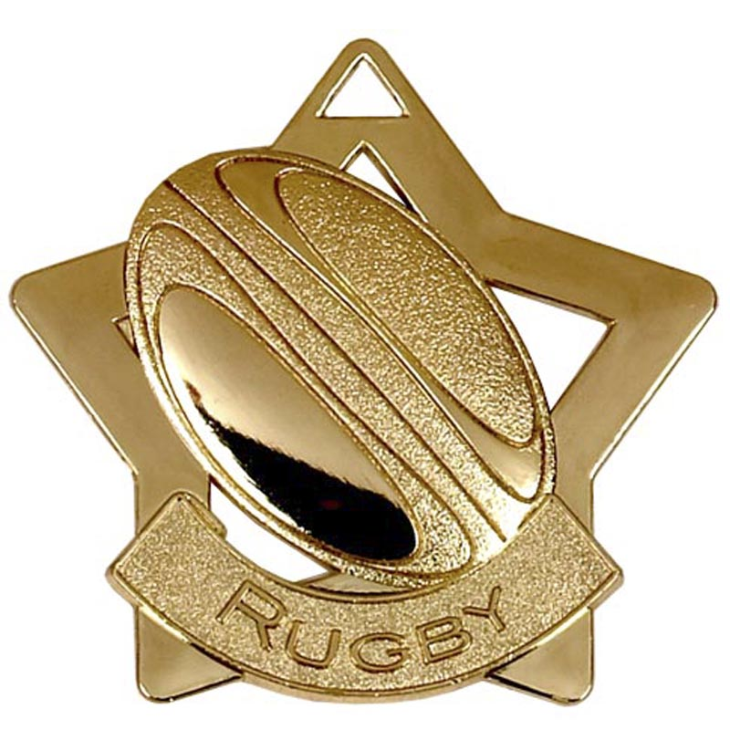 Gold Mini Star Rugby Medal (size: 60mm) - AM717G