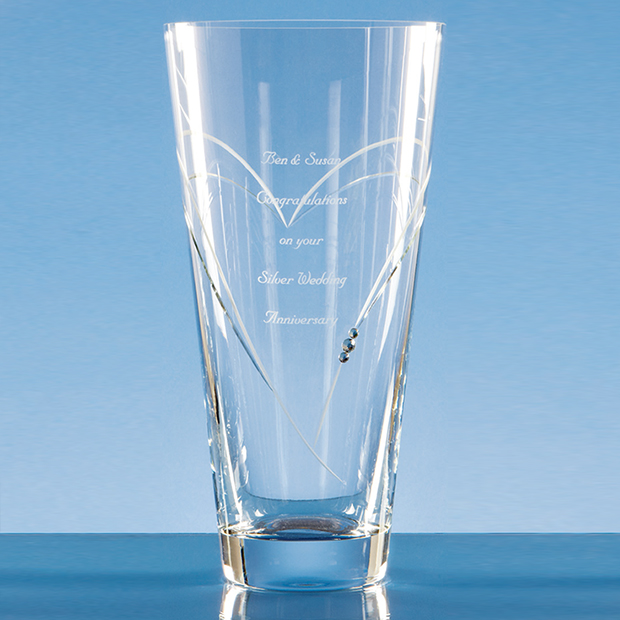 Diamante Conical Vase with Heart Shaped Cutting - SL226