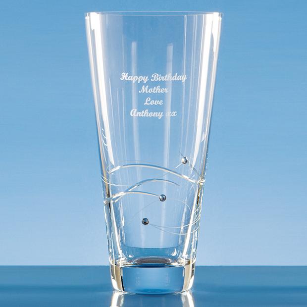 Diamante Conical Vase With Spiral Design Cutting Sl228 Impact