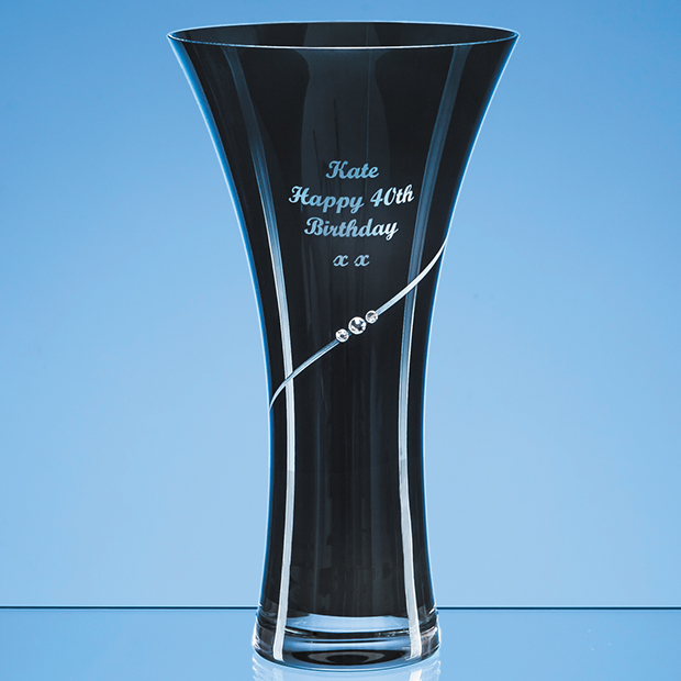 Onyx Black Diamante Trumpet Vase - SL557