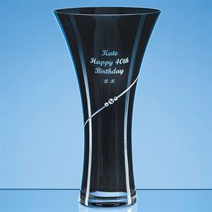 Onyx Black Diamante Trumpet Vase