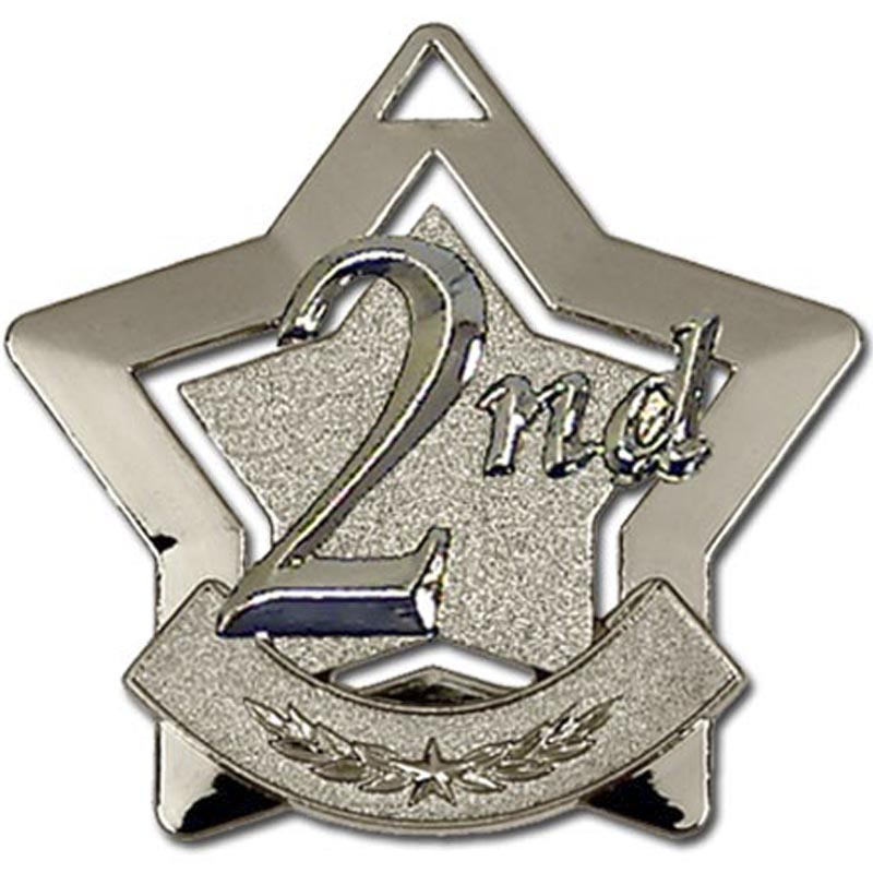 Silver 2nd Place Mini Star Medal (size: 60mm) - AM712