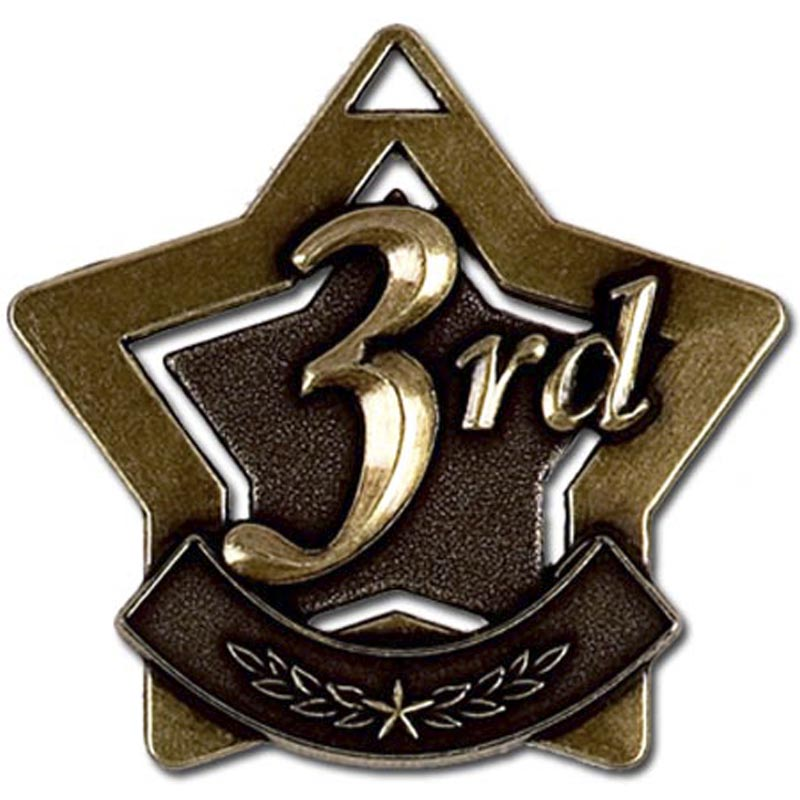 Bronze 3rd Place Mini Star Medal (size: 60mm) - AM713