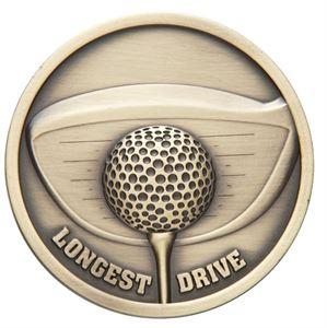 Link Longest Drive Golf Medal (size: 70mm) - Gold MM2027G