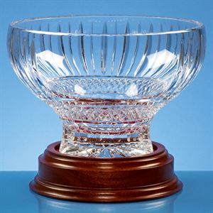 Lead Crystal Heeled Presentation Bowl with Wooden Base - L427
