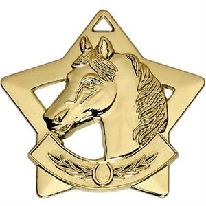 Gold Mini Star Horse Medal (size: 60mm) - AM731G