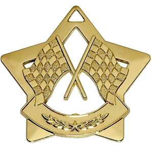 Gold Mini Star Cross Flags Medal (size: 60mm) - AM726G