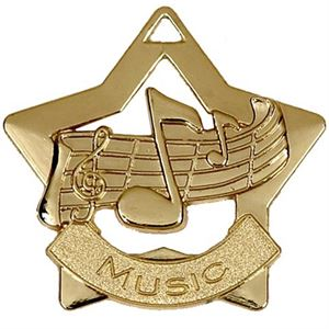 Gold Mini Star Music Medal (size: 60mm) - AM710G