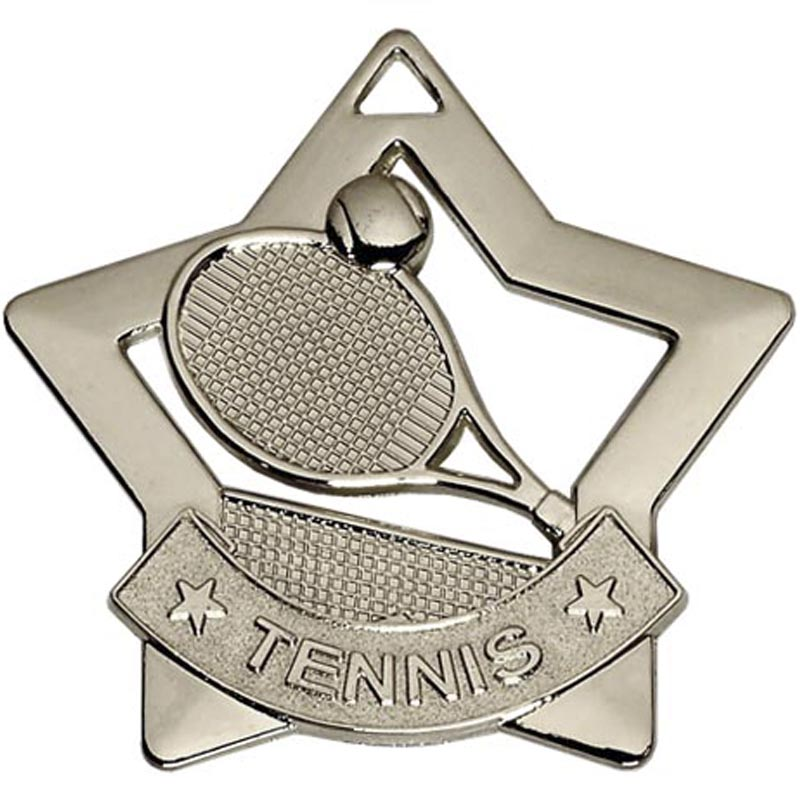 Silver Mini Star Tennis Medal (size: 60mm) - AM727S