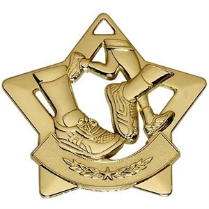 Gold Mini Star Running Medal (size: 60mm) - AM724G