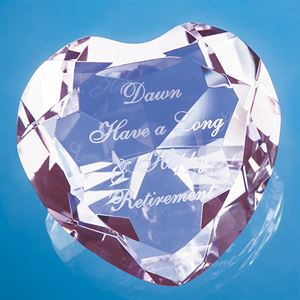 Optical Crystal Pink Facet Heart Paperweight