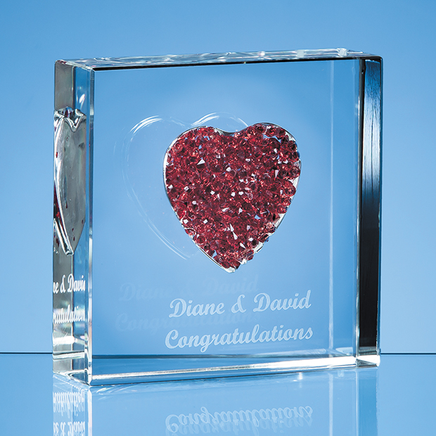 Red Diamante Heart Paperweight - EUR10