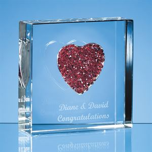 Red Diamante Heart Paperweight