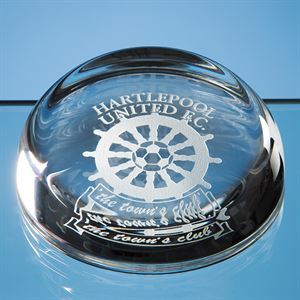 Optical Crystal Flat Top Dome Paperweight