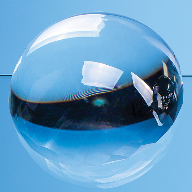 Optical Crystal Facet Edged Dome Paperweight - EUR157