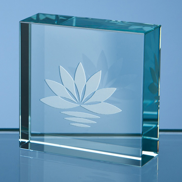 Jade Glass Square Paperweight - SY3087