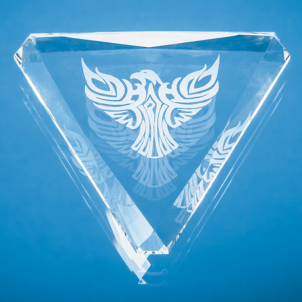 Optical Crystal Facet Triangle Paperweight - CS1072