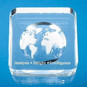 Optical Crystal Recessed Globe Paperweight - EUR38