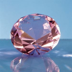 Optical Crystal Pink Diamond Paperweight - SY4011