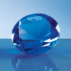 Optical Crystal Blue Diamond Paperweight - SY4014