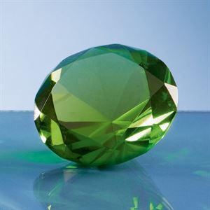 Optical Crystal Green Diamond Paperweight - SY4017