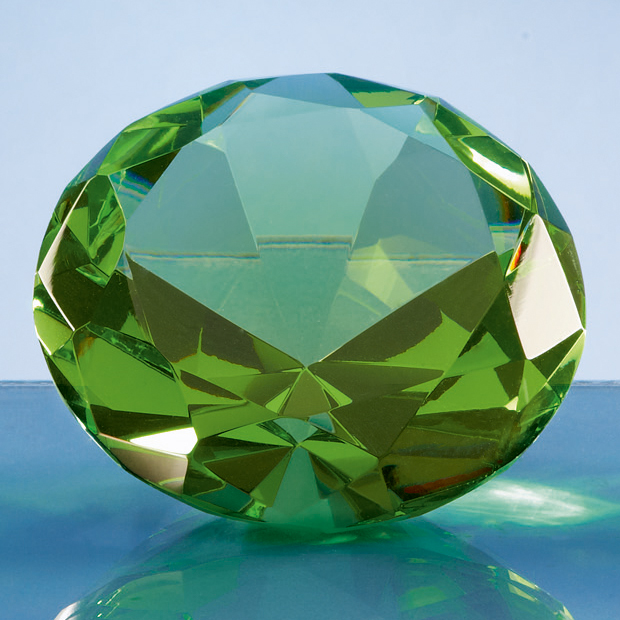 Optical Crystal Green Diamond Paperweight - SY4018