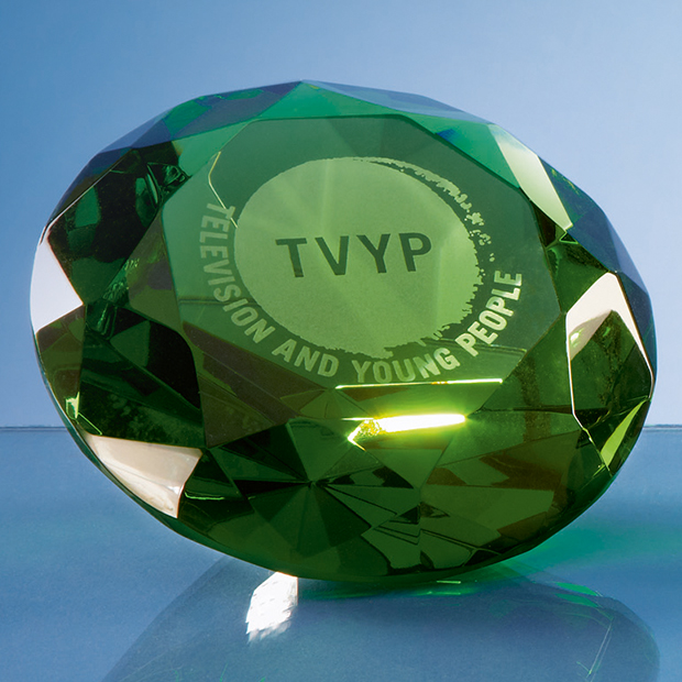 Optical Crystal Green Diamond Paperweight - SY4019