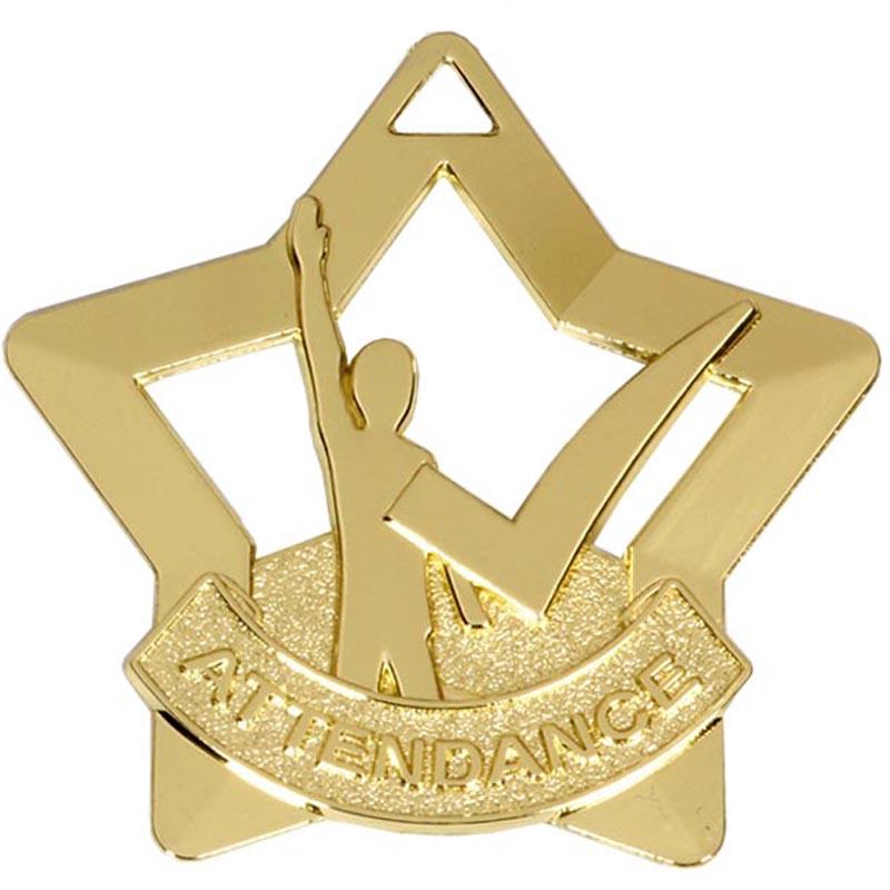 Gold Mini Star Attendance Medal (size: 60mm) - AM733G