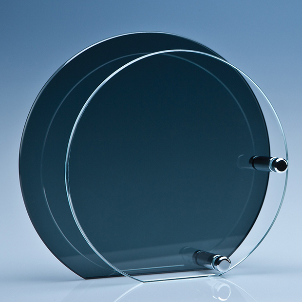 Clear Circle Mounted on a Smoked Glass Plaque - PG105