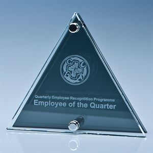 Clear & Smoked Glass Triangle Plaque - PG106