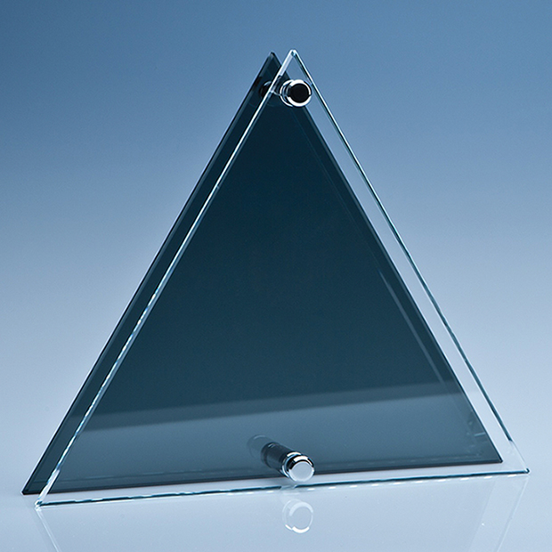 Clear & Smoked Glass Triangle Plaque - PG107