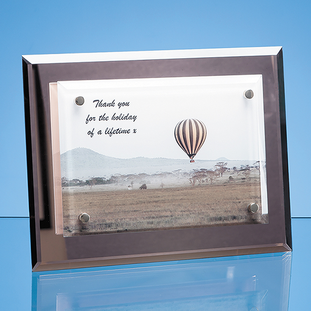 Mirrored Desk Plaque with Mounted Clear Rectangle - PG220