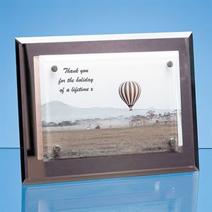 Mirrored Desk Plaque with Mounted Clear Rectangle
