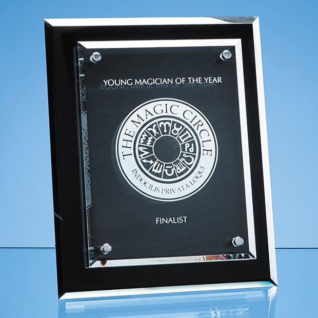 Onyx Black Desk Plaque with Mounted Clear Rectangle - PG221