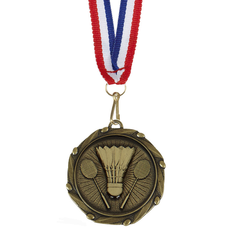 Gold Combo Badminton Medal & Ribbon (size: 45mm) - AM1060.12