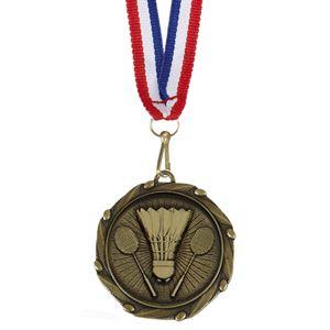 Gold Combo Badminton Medal & Ribbon (size: 45mm) - AM1060.12