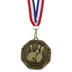 Gold Combo Ten Pin Bowling Medal (size: 45mm) - AM1057.12