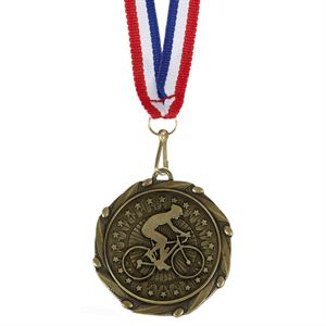 Gold Combo Cyclist Medal  & Ribbon (size: 45mm) - AM1063.12