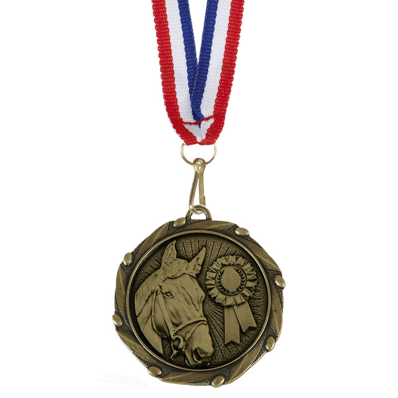Gold Combo Horse Medal (size: 45mm) - AM1061.12