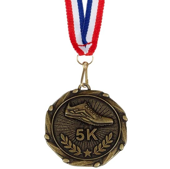 Gold Combo 5K Run Medal (size: 45mm) - AM914G