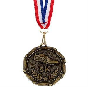 Combo 5K Run Medal & Ribbon