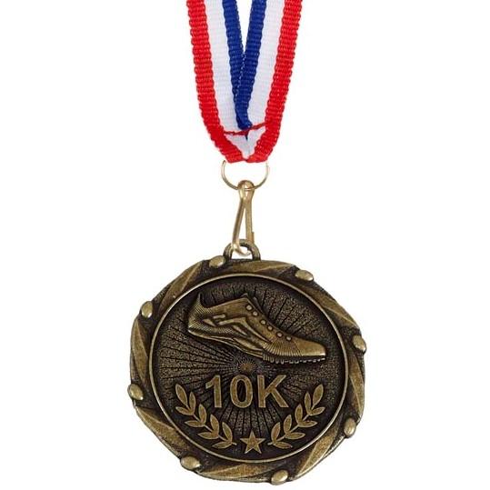 Gold Combo 10K Run Medal (size: 45mm) - AM915G