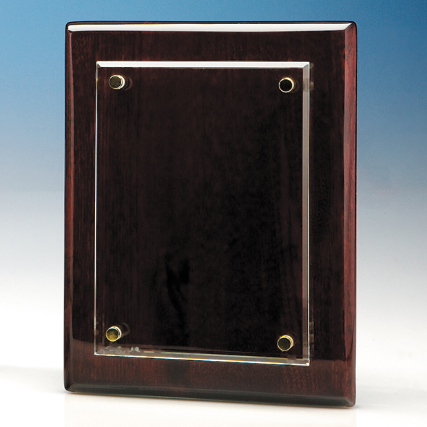Clear Rectangle mounted on a Rosewood Plaque - T6700